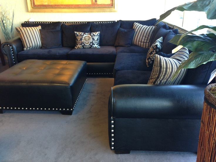Navy Sectional Leather Cloth Mix Ehhh Living Room Basement Pinterest Navy