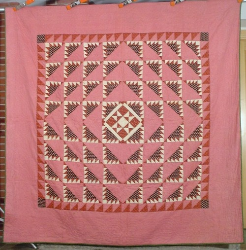 ebay - 1850s Delectable Mountain medallion quilt