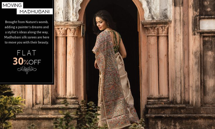 The fables of #Bihar laid on classic #sixyard #silk in legendary #madhubanihandpaintings , make way for this incredible piece of art in your wardrobe as they arrive at FLAT 30% #discount!