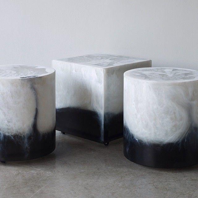Martha Sturdy dual pour resin stools / side tables. www.providehome.com