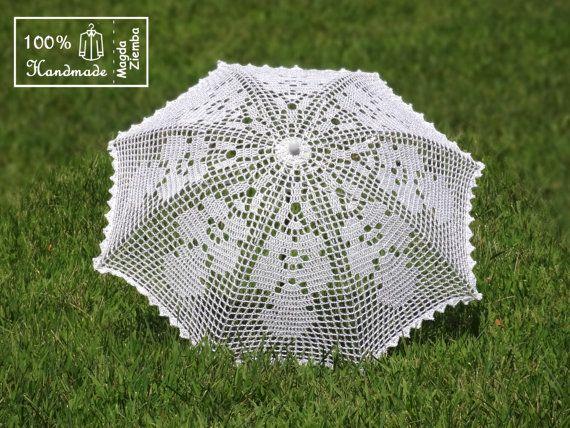 "30"" Shimmery White and Silver Filet Crochet UMBRELLA Parasol Sunbrella, Wedding Parasol, Party Favor- Ready to Ship"