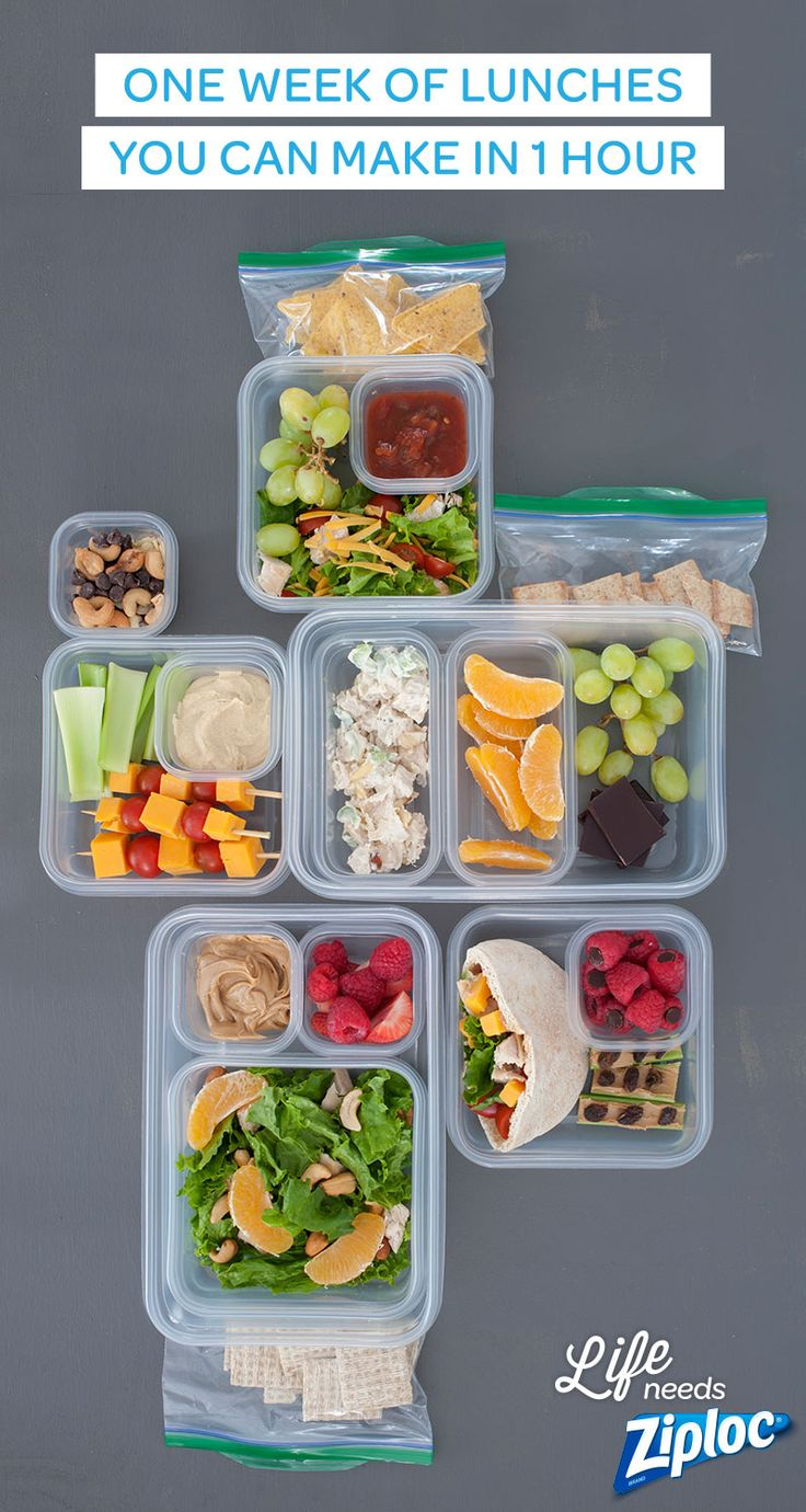 All you need is one grocery list and one hour (and a few Ziploc® bags and containers) for five easy, healthful, make-ahead lunches.