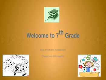 Welcome back to school! This presentation features classroom information including scheduling, classroom routines, field trips, testing, curriculum, and Common Core standards. Enter your own personal information to display on your Smartboard or Promethean board during your parent presentation on Curriculum Night or orientation day.