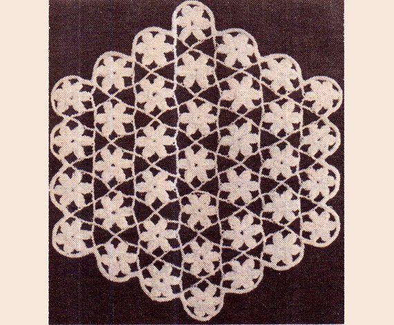 Genuine Vintage Pretty Heirloom LACY FLORAL Hexagon Doily Crochet Pattern PDF