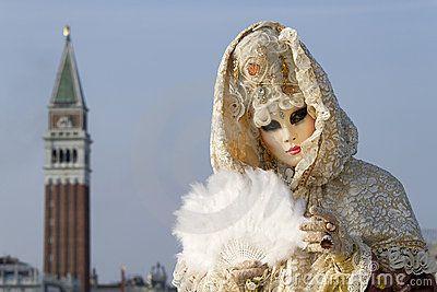 Máscara Bonita No Carnaval Em Veneza