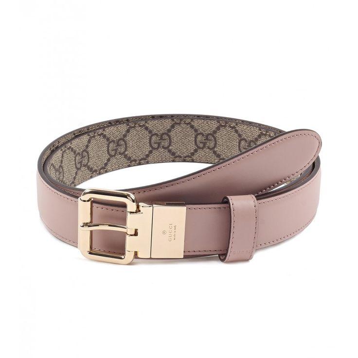Gucci Light pink & Beige Reversible Leather & GG Supreme Belt