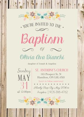 Baptism Invitation, Christening, Church, Ceremony, Party, Rustic, Floral, Pink…
