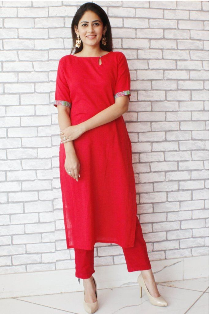 dbab16537d Red Straight Kurti with Red Straight pants   What am I thinking ...