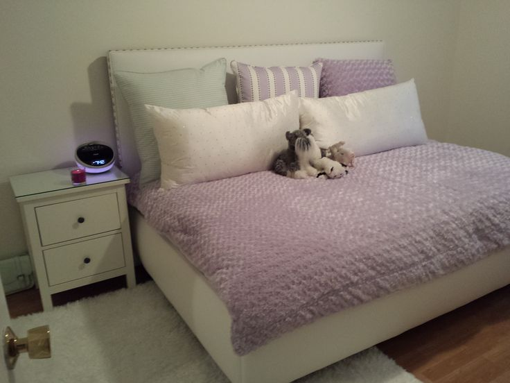 "Custom ""daybed"" headboard - a double bed turned sideways; duvet cover, silk cushions with rhinestones, 3 euroshams"