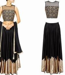 Buy black & golden embroidered lehenga choli with dupatta for women lehenga-choli online