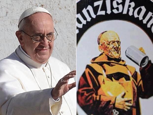 qualcuno ci fa notare delle somiglianze fra Papa Francesco e il frate francescano sull'etichetta della Franziskaner :-)
