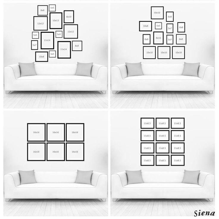 ¡ Te mostramos algunas opciones para que puedas armar la mejor distribución de tus marcos en esa pared que buscabas decorar ! #InspiraciónSiena  www.casasiena.cl
