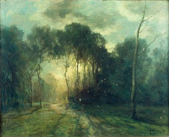 CACHOUD (FRENCH 1866-1943). FOREST CLEARING AT TWILIGHT.