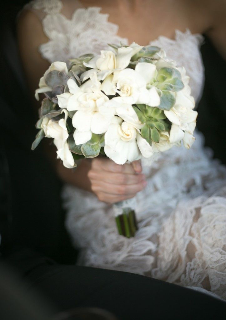 Gardenia and succulent modern wedding bouquet - photo via Widdis Photography.