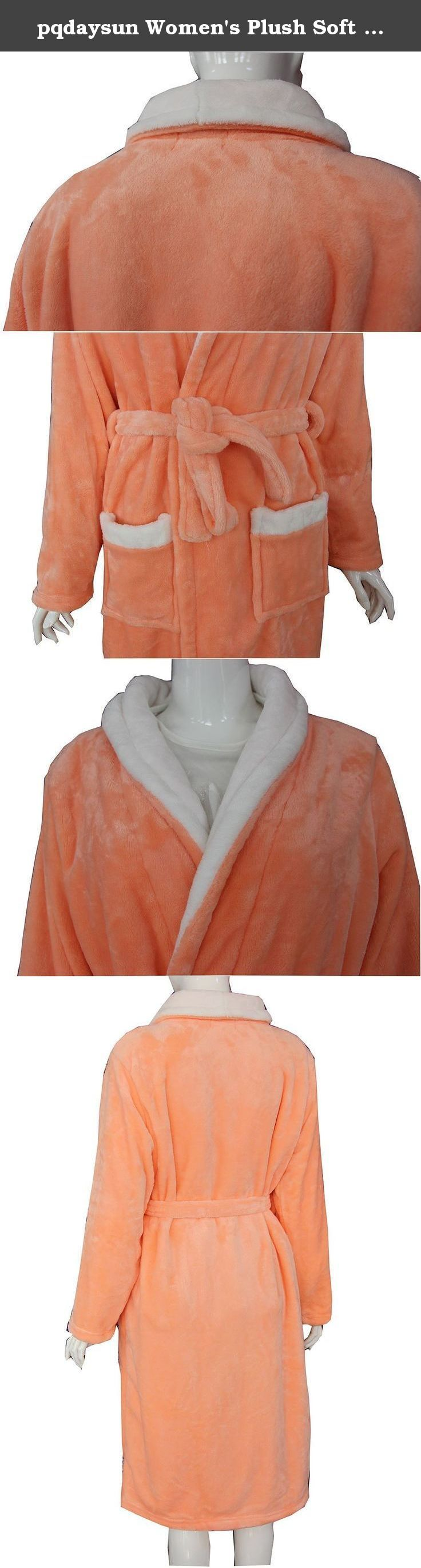 pqdaysun Women's Plush Soft Warm Flannel Bathrobe Spa Robe Kimono Wrap Sleepwear Orange. pqdaysun is a brand designed for men or women offering casual style with highest qualities. We bring customers to a different outlook on life of fashion. Warm, cozy women's Bathrobe , soft flannel Fabric, A self-belt cinches the waist of this cozy shawl-collar robe . Improved manufacturing process yields stronger fabric and superior stitching. This lightweight bathrobe is perfect for all day wear and...