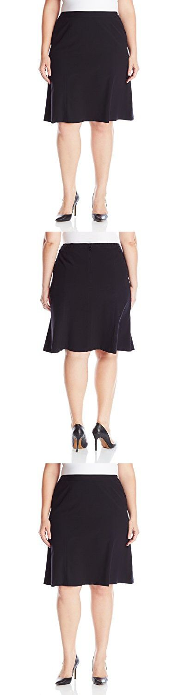 Nine West Women's Plus Size Line Skirt, Black, 14W