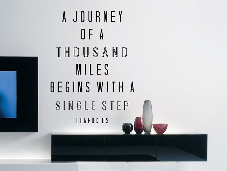 """Confucius Quote Inspirational Motivational Wall Decal Home Décor """"A Journey of a Thousand Miles"""" 17x23 Inches"""