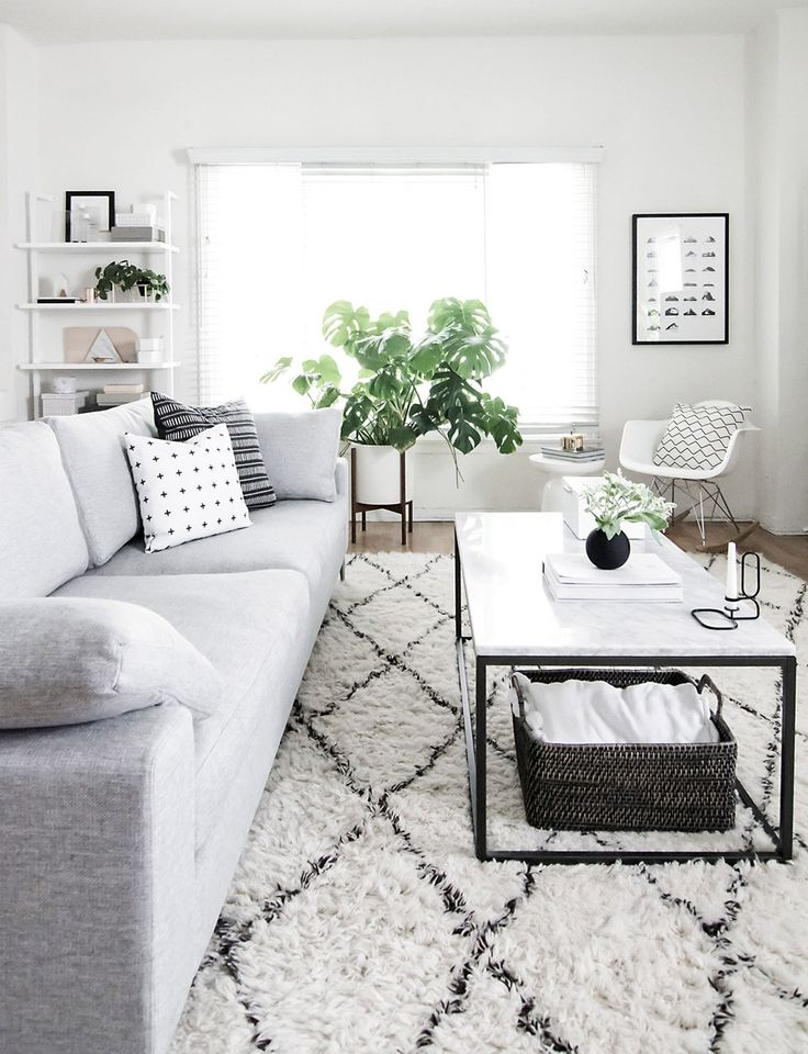 west elm black and white modern living room by amy kim of homey oh my - Black And White Chairs Living Room