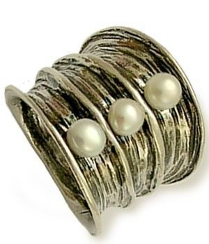Oxidized sterling silver large statement cocktail ring with pearls - Bubbling emotions.. $140.00, via Etsy.