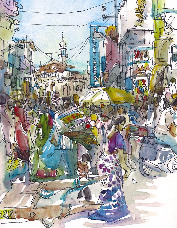 Crowded Street in Bombay, Mumbai, India . Archival print from an original watercolor sketch. #india #bombay #travel #art