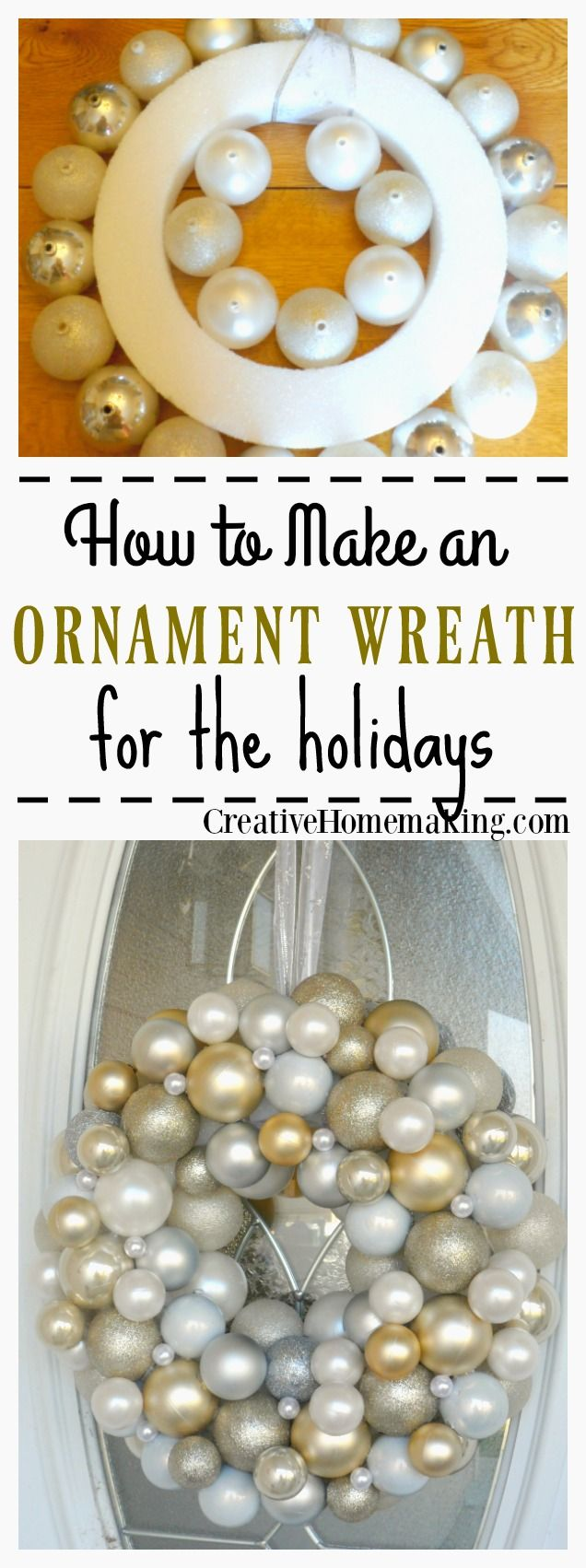 This elegant ornament wreath is very easy to make and can be made from ornaments purchased from the Dollar Store.