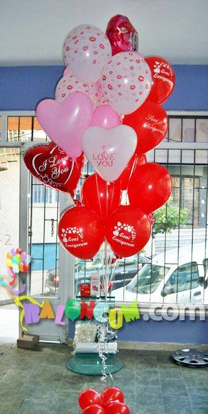 Sevgi Mesajlı Uçan Balon | Sevgililer Günü Sürpriz Uçan Balon Demetleri