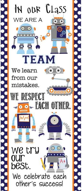 ROBOTS Theme Classroom Decor/ Character Education Banner / Large / In Our Class / JPEG / ARTrageous FUN