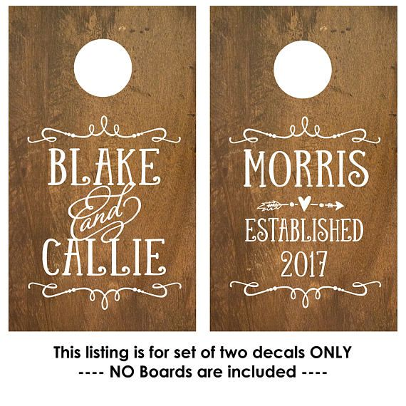 Corn Hole Board Decal | Rustic Wedding | Cornhole Board Monogram Decal | Cornhole Decal | Personalized Cornhole Game Decal