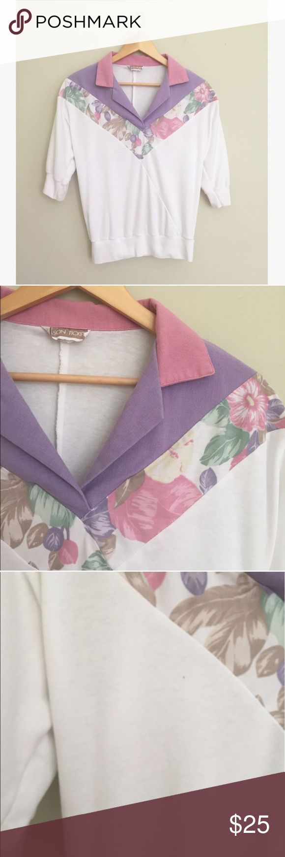 """Vintage Tropical Floral Polo Pullover Retro tropical flower and pastel print top by Season Ticket. Polo neck and lightweight stretchy cotton material. Tiny dark mark on bust is pictured. Size small.   23"""" long, 20"""" pit to pit.   Measurements approximate. No trades, offers welcome! Vintage Tops"""