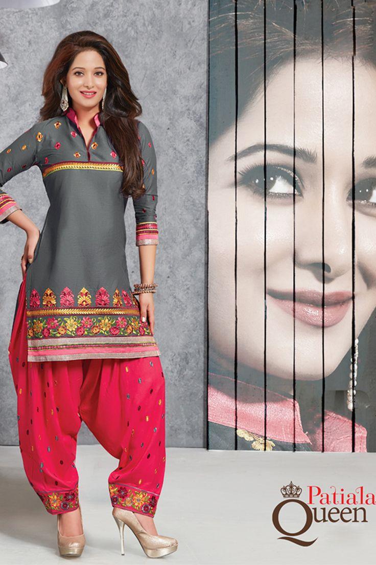 Designer functional wear grey cotton punjabi style patiyala dress with embroidary work...