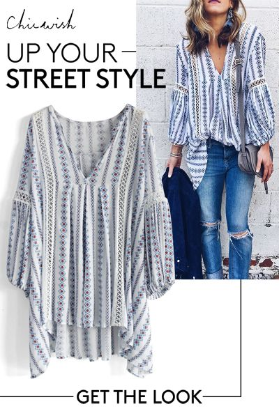 Up your street style! Posies Flow My Way V-neck Tunic featured by Cellajane blog