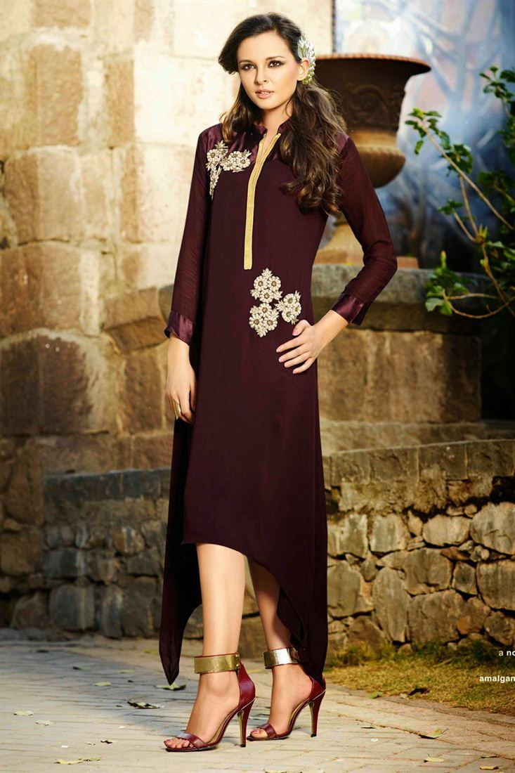 Tempting Wine Color Georgette #Kurti available to buy.