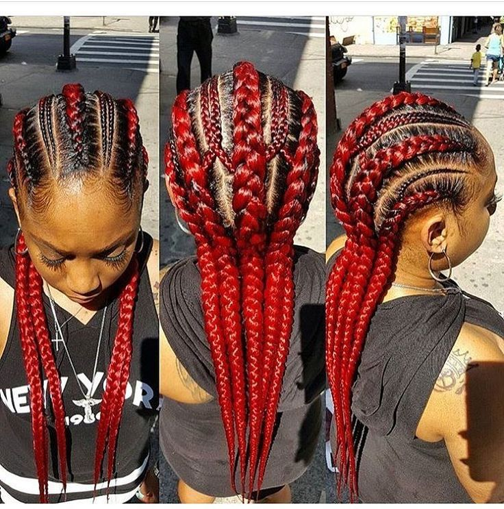 Red braided hairstyle