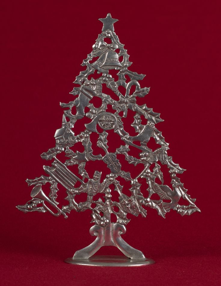 Seagull Pewter Standing Ornament -- Decorated Tree, dated 1987.