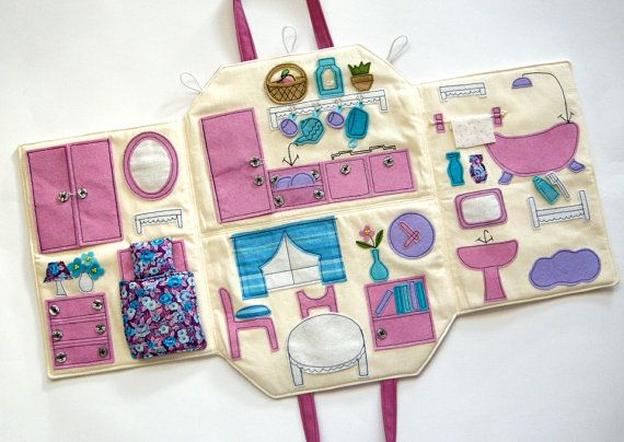 Fabric doll house Portable travel dollhouse by TheMonkeysWorkshop
