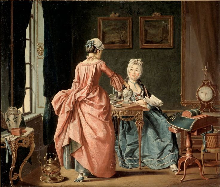 best th century portraits of women images a w reading the chamber maid brings tea by swedish painter pehr hillestrom dating from 1775