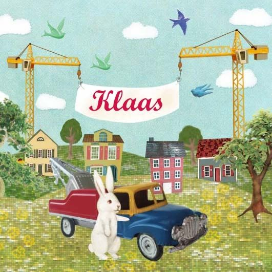 Geboortekaartje Klaas - stoerr retro collage geboortekaartje met konijn op bouwplaats - www.petitkonijn.nl