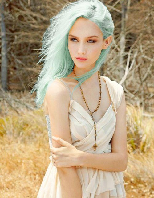 Pastel sea-foam green hair
