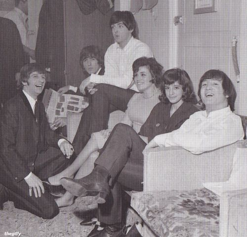 The Beatles with two American fans, Mary and Virginia Pezzullo. The two had flown over from New York City just to see Another Beatles Christmas Show and were rewarded with a backstage meet-and-greet.