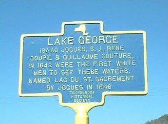 Guillaume Couture, plaque commémorative au Lac Georges, USA