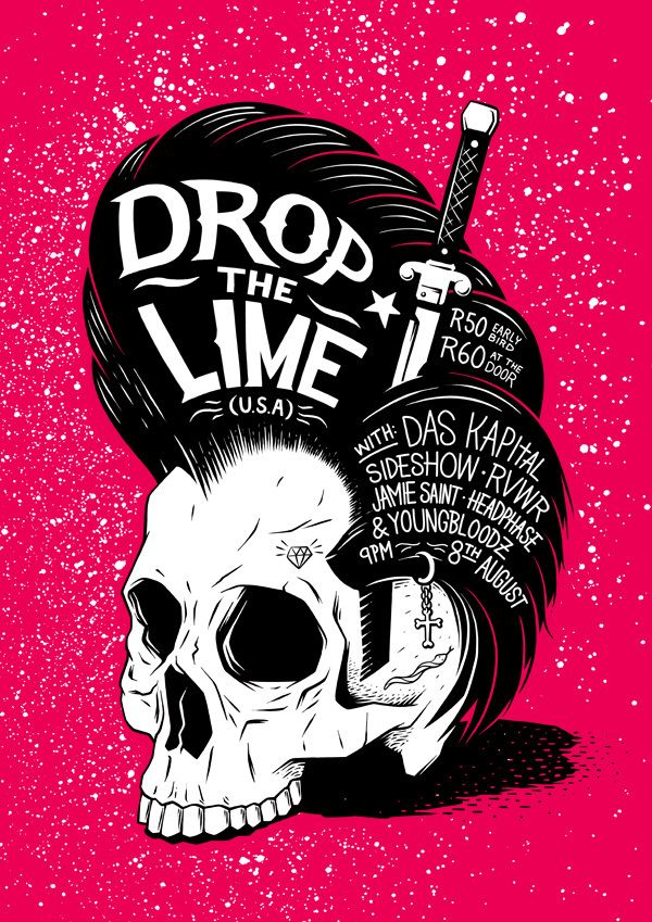 Drop The Lime Poster by Ian Jepson, via Behance #red #black #white #graphic #design #drawing #poster #rockabilly #skull #hand #lettering #typography