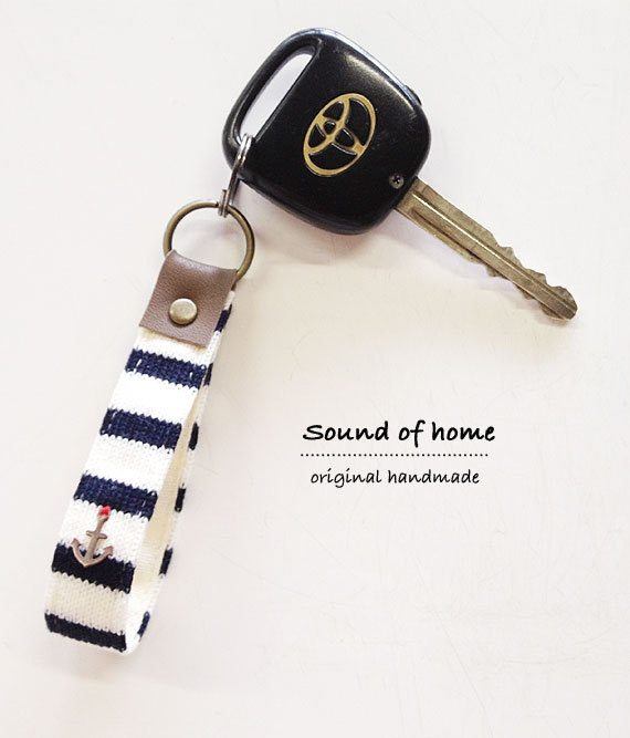 Nautical anchor unisex leather keychain key holder by SoundOfHome, $8.90