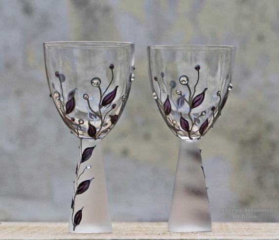purple touch wine glasses
