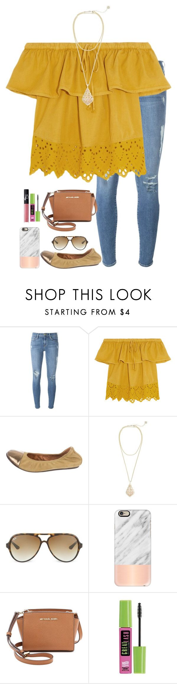 """shopping!"" by apemb ❤ liked on Polyvore featuring Frame Denim, Madewell, Lanvin, Kendra Scott, Ray-Ban, Casetify, MICHAEL Michael Kors, Maybelline and NARS Cosmetics"