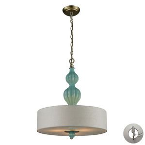 Elk Lighting Lilliana 3 Light Pendant in Seafoam And Aged Silver - includes Recessed Lighting Kit