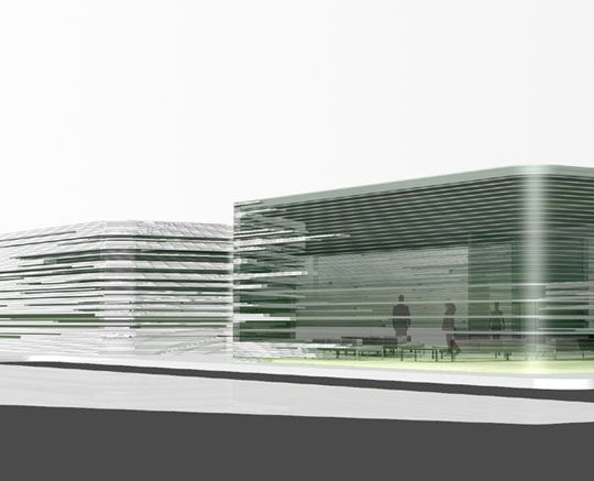 Mediatheque - book and new media library - exterior facade by Studio ST