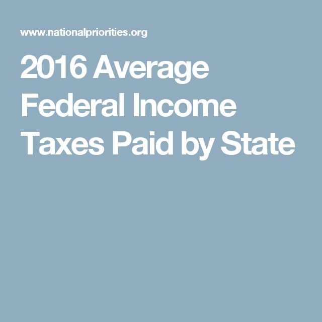 2016 Average Federal Income Taxes Paid by State