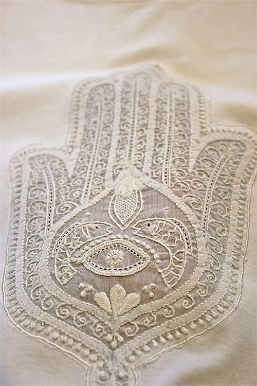 Nomadic Decorator | Hamsa: Embroidered, Painted, Cemented | http://nomadicdecorator.com