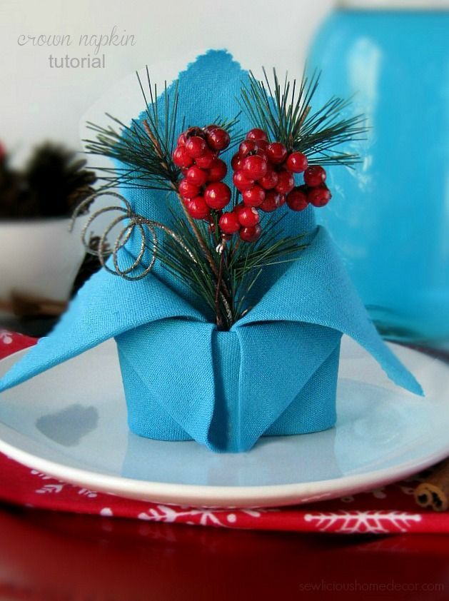 Elegant Holiday Crown Napkin tutorial with a FREE e-Book of holiday napkin tutorials.