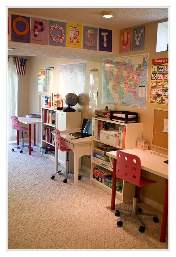 Separate desk areas homeschool-rooms, no fighting! Love this!